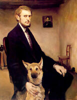 """perfect oil painting handpainted on canvas""""a man with a dog""""@15874"""