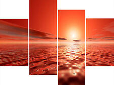 Large 4 Panel Set Wall Art Canvas Pictures Koro Orange Red Sea Modern Prints