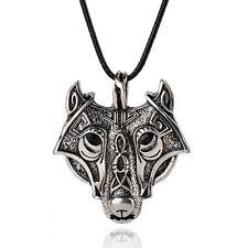 Hot Nordic Vikings Wolf Head Pendant Necklace Original Animal Men's Jewelry CN