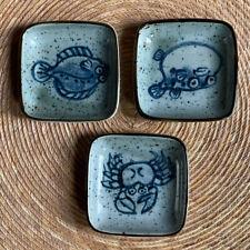 Vintage? Ceramic Pottery Set of 3 Trinket Dishes Fish Blowfish Crab Lobster