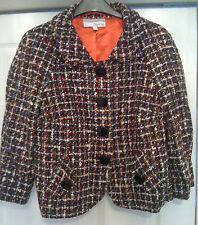 New Sz 10 Heine Boucle Woven Cropped Jacket Coat Black Red White Blue