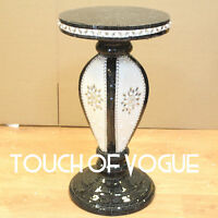 Black Mosaic Side Table Modern Plant Stands Bed Side Sparkle Flower Romany UK