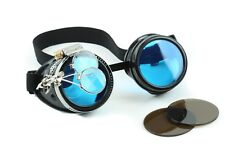 Steampunk Goggles Crazy GCG Burning man Cosplay Costume 16X Magnifying Blue Lens