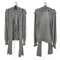 Womens Elisa Cavaletti Knit Wool Cardigan Sweater Jumper Grey Italy Size XL