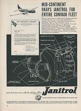 1952 Janitrol Aviation Heaters Ad Mid Continent Airlines Convair CV-240 Fleet
