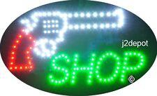 "US Seller Animated Gun Shop Led Sign neon lighted. Video inside.  21""x13-1/2"""