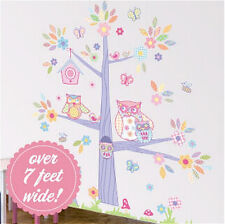 """OWLS in a TREE WALLSCAPE wall stickers MURAL 90+ decals leaves flower 83""""x87"""""""