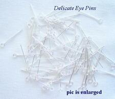 100 Delicate Silver Plated Eyepins For Duster Earrings