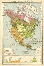 1942 MAP GRÁFICO AMÉRICA DEL NORTE VEGETACIÓN LAND ALTURAS BOSQUES DESIERTOS