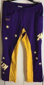 Harlem Globetrotters Pants Platinum Fubu Purple Golden Yellow Size Large Warm-up