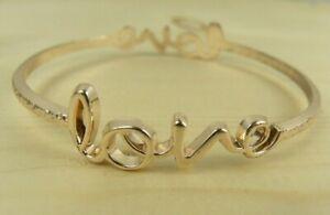 Love Thin Bangle Bracelet Copper Color Word Cursive Hammered