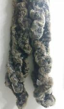 "GENUINE RABBIT FUR 40"" SCARF》Ladder Knitted》BROWN, GRAY, BLACK》#11"