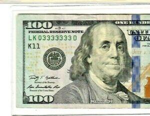 """03333333"" $100 COOL SERIAL!!!!! (2009-A) ""03333333' $100 COOL SERIAL!!!!! NICE!"