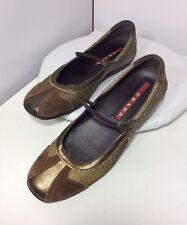 PRADA Women's Sz 36 Gold Bronze Metallic Slip On Ballet Flat Moc Loafer Sneaker