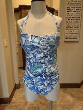 Ralph Lauren 1 Pc Bathing Suit Blue Multi 14 NWT $128 (110)