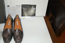 NWB GEOX 37/7 LEATHER LOAFERS/MOCCAS.PYTHON PRINT.BROWN.VAL.$170