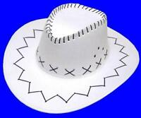 WHITE COLOR SOFT LEATHER STYLE WESTERN COWBOY HAT cowgirl unisex HEADWEAR NEW
