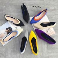 Women Soft Shoes Casual Breathable Knit Pointed Comfortable Pregnant Shoes New
