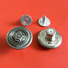 10 NO-SEW Vintage Lot Metal Brass Jeans Snaps Tack Pants Buttons 16.5mm 26L G192