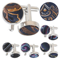 DQT Floral Cypress Paisley Inlay Silver Plated Mens Cufflinks FREE Pocket Square