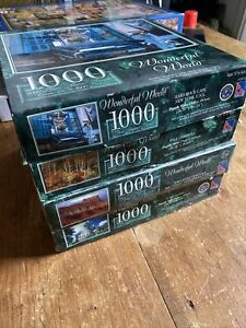 "Bundle Of 4 ""Wonderful World"" 1000 Piece Jigsaw puzzles."