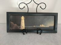 Vintage Nautical Lighthouse Schooner Wood Board Folk Art Woodblock Sullins House