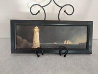 Vintage Nautical Lighthouse Schooner Wood Board Folk Art Woodblock Sullins House