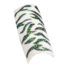 100pcs Black White Zebra Design Tips Glitter Acrylic French False Nail Art Tips