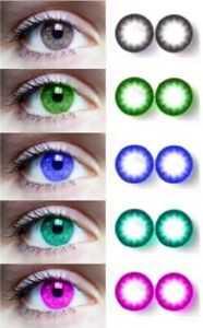 pack of 5 color Beautiful Eye Color for Parties Free Solution & Case