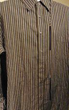 Beverly Hills Polo Club Men's 3XL long sleeve striped Brown shirt