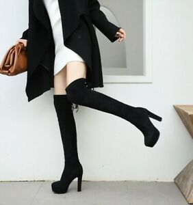 Womens Black Faux Suede Over Knee Riding Boots High Block Heels Platform Shoes