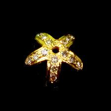 8.5mm 18k Solid Yellow Gold Champagne Diamond Flower Petal Bead Cap