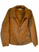 Zenergy Womens Panel Jacket Coat Cinnamon Zip Up Collar Pockets Large Size 12