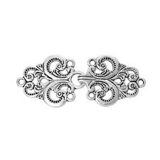 2 Pairs of Silver Filigree Style Connector Clasps, hook and eye clasp, fcl0153