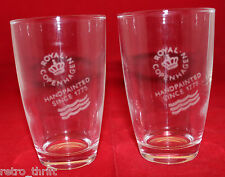 Royal Copenhagen Denmark Set of 2 Drinking Glass Tumblers Clear Logo Rare Japan