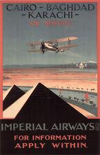"""Vintage Imperial Airways """"Cairo-Baghdad-Karachi"""" Poster"""