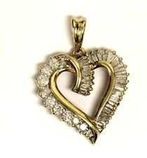 10k yellow gold .84ct SI3 H diamond heart pendant 3.3g estate vintage womens