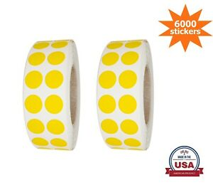 Color-Coding Dot Stickers 10MM yellow (3/8 Inch) 6000 Labels on Rolls