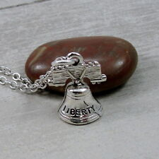 Silver Liberty Bell Necklace - USA Patriotic Independence Pendant Jewelry - NEW