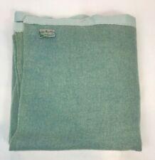 Vintage Wool Blanket Satin Trim Blue Mountain Virgin Wool Blue Throw