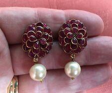 VINTAGE 18 ct Rubis Diamant Perle Boucles d'oreilles. Super Jaipur vert émail .12cts TOTAL!