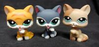Littlest Pet Shop LPS Lot 3 Cats Licking Paw Orange Purple Brown 2204 1363 2332