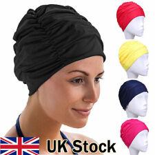 Swimming Pool Hat Ladies Turban Swim Cap Shower adjustable Unisex Adult UK