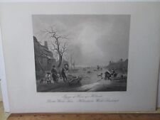 Vintage Print,DUTCH WINTER SCENE,A.H.Payne,Dresden,19th Cent,Steel Engraving