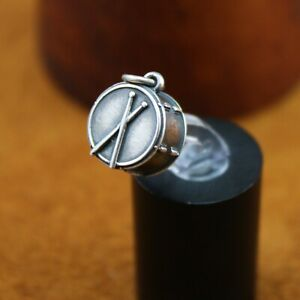 """Rare Retired James Avery """"Christmas Drum"""" Charm Sterling Silver 3/4"""" Length"""