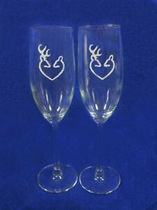 Browning Deer Hunting Wedding Glasses Flute Engraved Personalized FREE heart