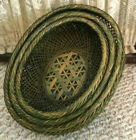 Woven Storage Baskets Winnowing Bamboo Green Wicker Nesting 3 Piece Vintage Set