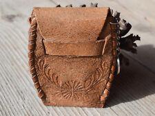 Vintage genuine leather key case, Brown key holder, Retro key keychain 1950's
