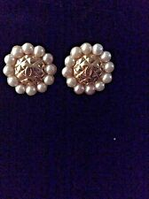 Authentic Chanel Vintage CC Gold & Pearl Earrings