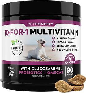 PetHonesty 10 in 1 Dog Multivitamin w/ Glucosamine - Essential Dog Vitamins 90ct